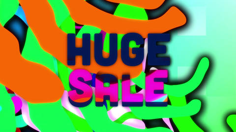 Huge sale graphic and colourful swirls on blue squares Animation
