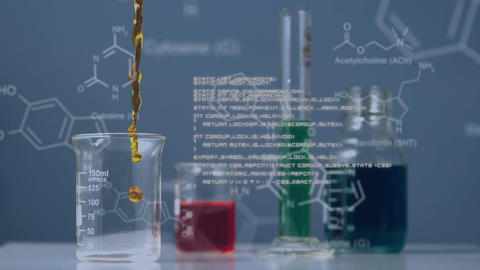 Coloured liquids in containers on lab bench with moving data Animation