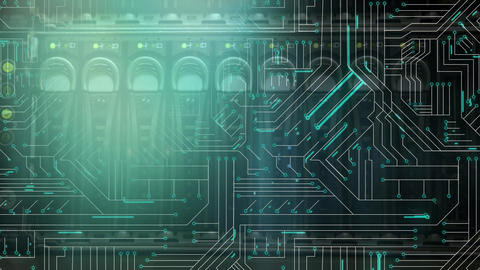 Active computer circuit board Animation