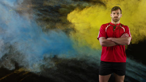 Professional rugby player standing with crossed arms Animation