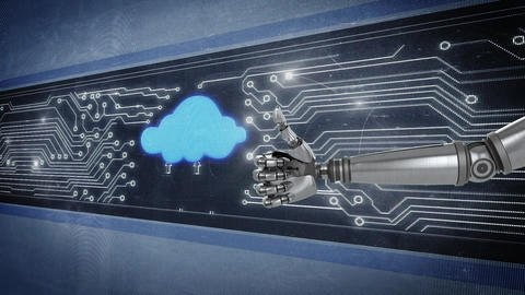 Robot hand gesturing thumbs up infront of glowing circuit board and flashing cloud icon Animation