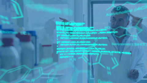 Scientists talking in lab and glowing text and data Animation