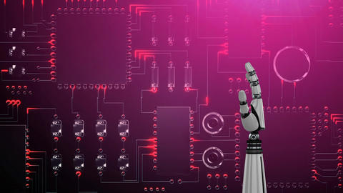 Robot hand over red glowing circuit board Animation