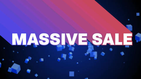 Massive sale graphic with floating cubes on black Animation