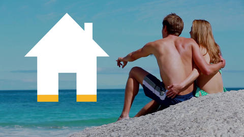 Couple on sunny beach with house icon filling yellow Animation