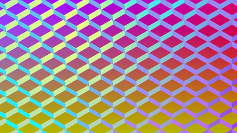Colourful diamond shaped mesh on yellow and pink Animation