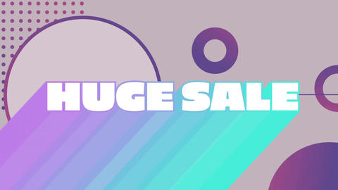 Huge sale graphic and circles on grey background Animation