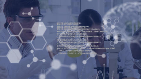 Scientists working in lab and white text and data Animation