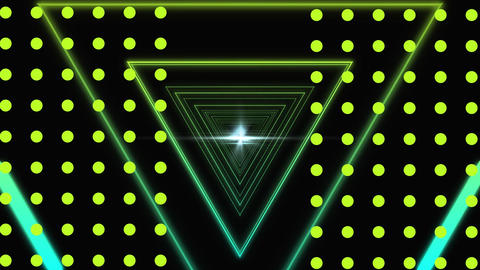 Green and yellow triangles and white flashes moving on a black background with yellow dots Animation