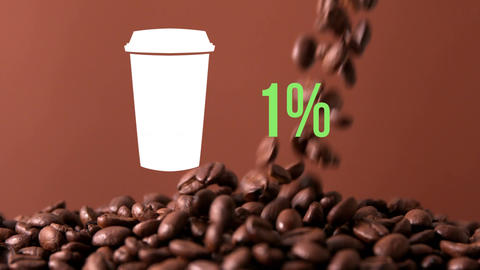 Coffee cup and numbers filling up with colour Animation