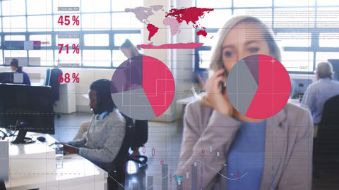 Woman working in an office with financial data 4k Animation