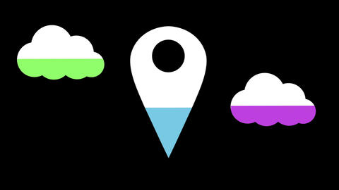 Cloud and location pin shapes filling up with colours 4k Animation