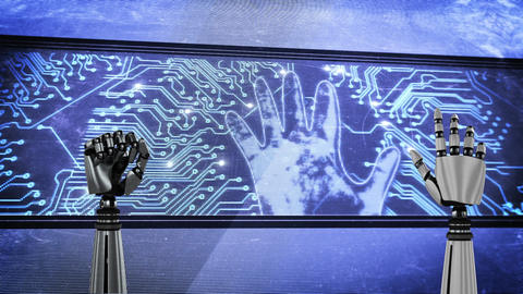 Two robot hands and a big screen with glowing circuit board and flashing hand Animation