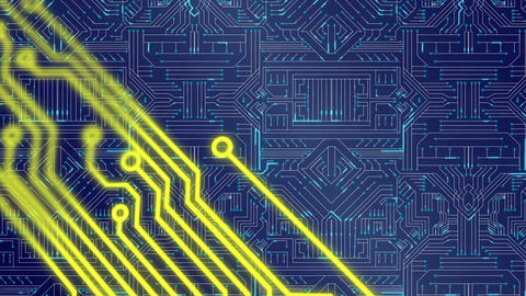 Yellow circuit details and glowing blue circuit board Animation