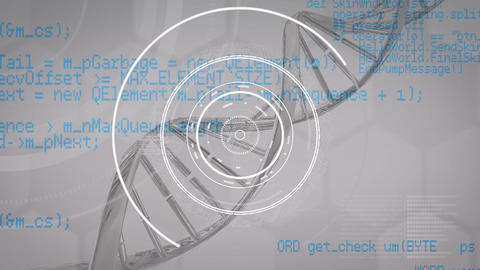 DNA, floating white rings and blue data on grey Animation