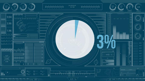 Pie chart and numbers filling up with colour Animation