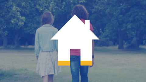 Young couple walking outdoors and house icon filling with yellow Animation