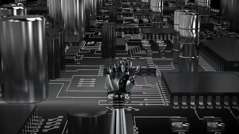 Robot hand over moving circuit board Stock Video Footage