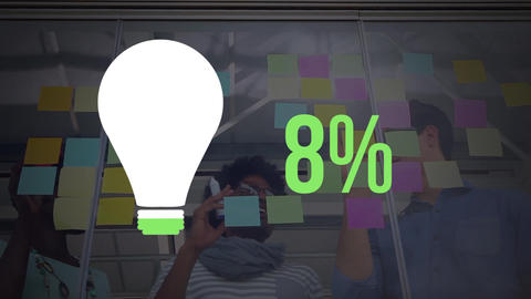 Light bulb shape and numbers filling up with colour Animation