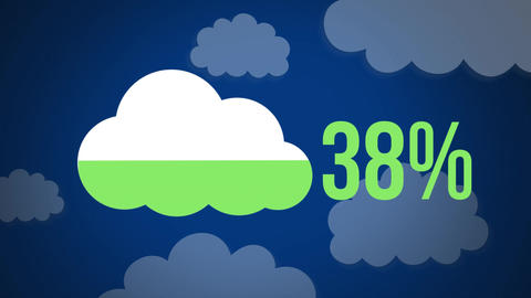 Cloud shape and numbers filling up with colour with cloud shapes in the background Animation