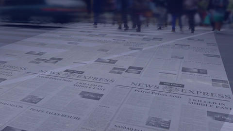 People walking fast with newspaper in the background Animation