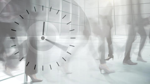 People walking fast with clock in the foreground Animation