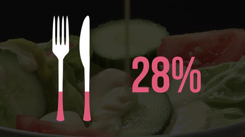 Cultery symbol and percentage filling pink with food preparation in background Animation