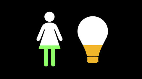 Female and light bulb shapes filling up with colours Animation