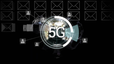 5G displayed in a circle Animation