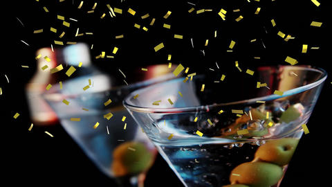 Glass of cocktail and confetti Animation