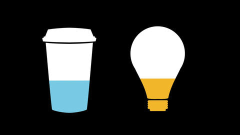 Coffee cup and light bulb shapes filling up with colours 4k Animation