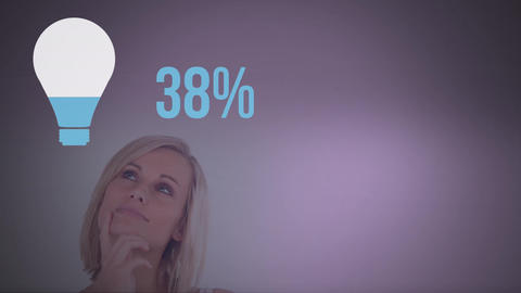 Woman next to light bulb shape and numbers filling up with colour Animation