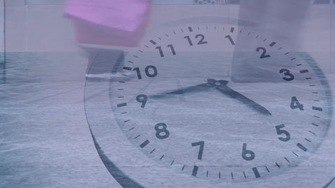 People walking slowly with clock moving fast in the foreground Animation