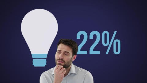 Young man next to light bulb shape and numbers filling up with colour 4k Animation