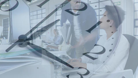 Group of young office workers in a busy office Animation