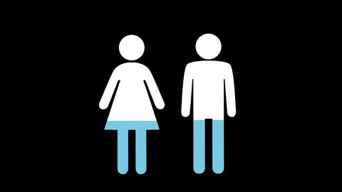 Male and female shapes filling up with colours Animation