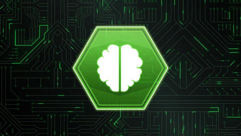 Brain in a hexagon and a digital circuit Animation