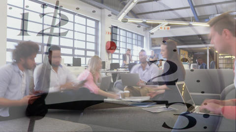 Colleagues talking in a busy office Animation