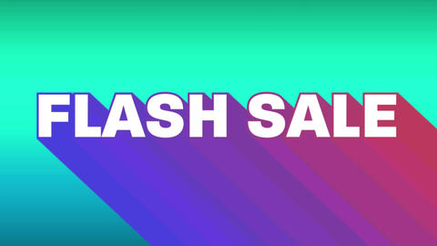 Flash sale graphic with colourful trails on bright turquoise background 4k Animation