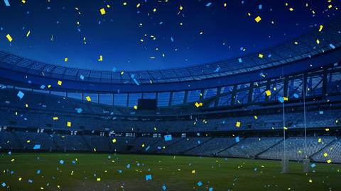 Colourful confetti falling down in front of a sports stadium Animation