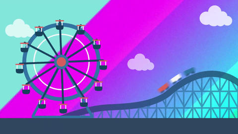 Ferris wheel and a roller coaster Animation