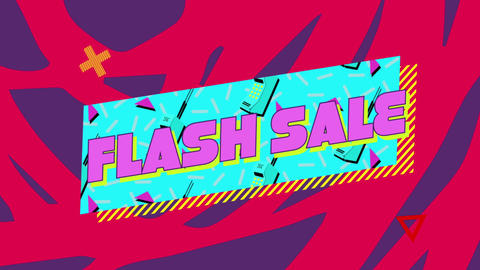 Flash sale graphic in blue rectangle on red and blue background Animation