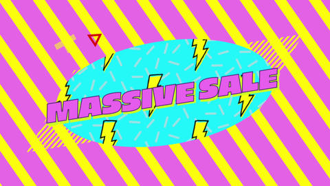 Massive sale graphic on blue oval with yellow and pink striped background 4k Animation