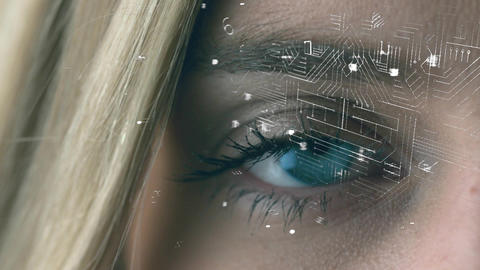 Woman with blue eyes and a digital lock with circuit Animation