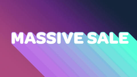 Massive sale graphic with colourful trails on dark purple background 4k Animation