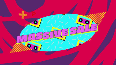 Massive sale words on blue oval with audio cassettes graphic on red and blue background 4k Animation