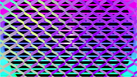 Moving colourful concerntic circles seen through colour changing mesh Animation