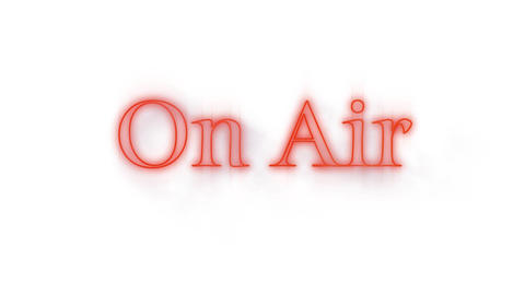 On Air red neon graphic on white Animation