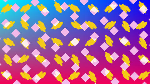 Rotating pattern elements over colourful background Animation
