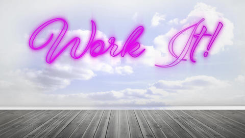 Work it graphic in pink neon on cloudy sky Animation
